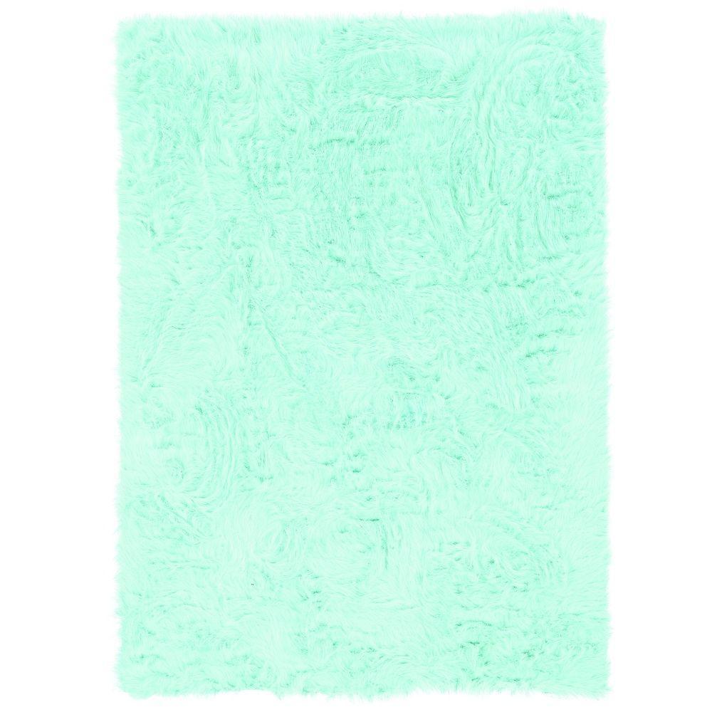 Linon Home Decor Faux Sheepskin Blue 2 ft. x 3ft. Indoor Area Rug