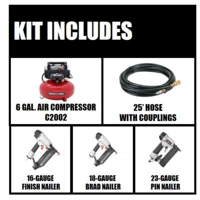 6 Gal. 150 PSI Portable Electric Air Compressor with 16-Gauge, 18-Gauge and 23-Gauge Nailer Combo Kit (3-Tool)