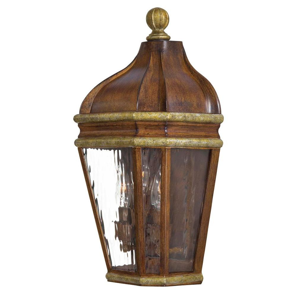 the great outdoors by Minka Lavery Marietta 3-Light Mossoro Walnut Outdoor Wall Mount Lantern