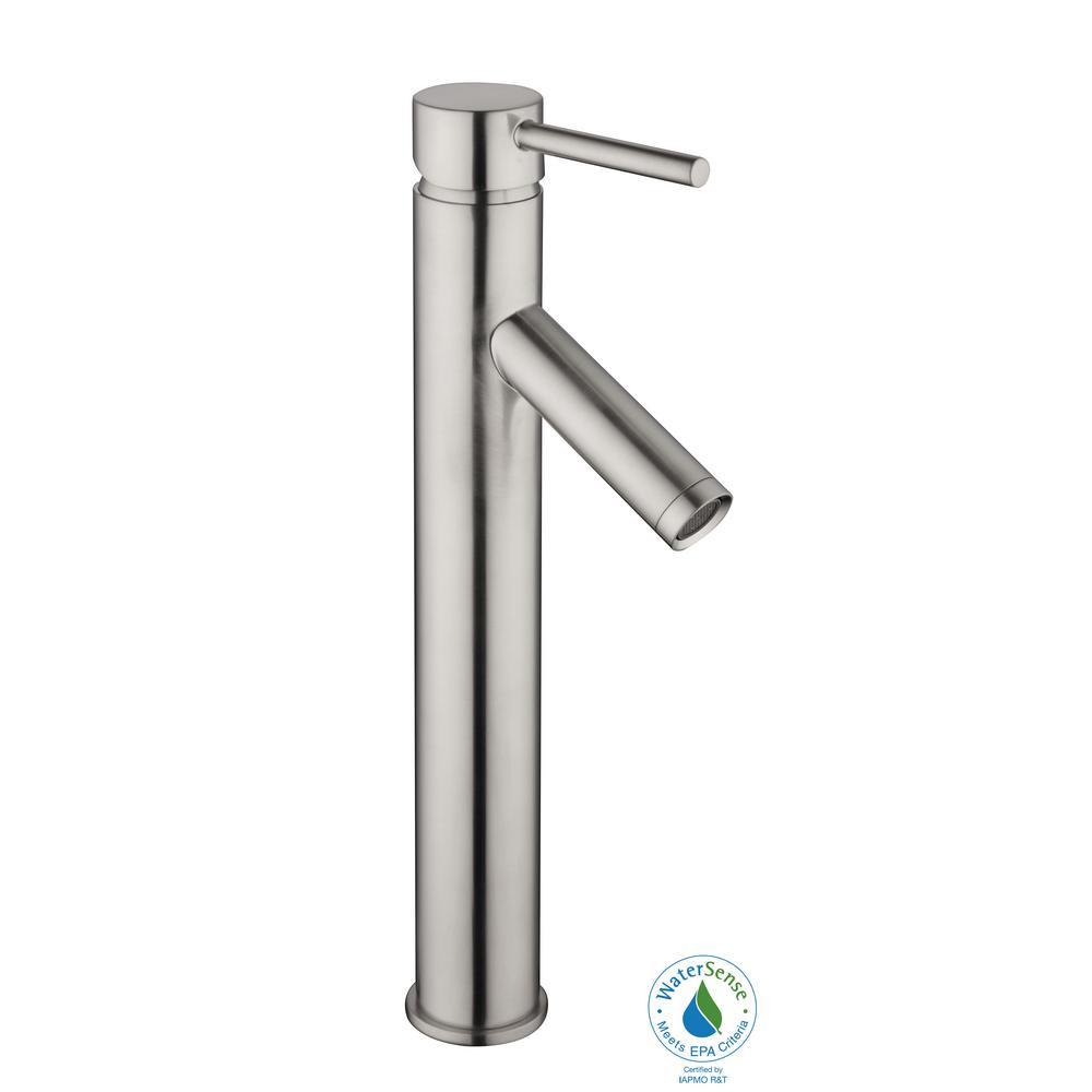 19b76785405 Glacier Bay Modern Single Hole Single-Handle Vessel Bathroom Faucet in  Brushed Nickel with Drain