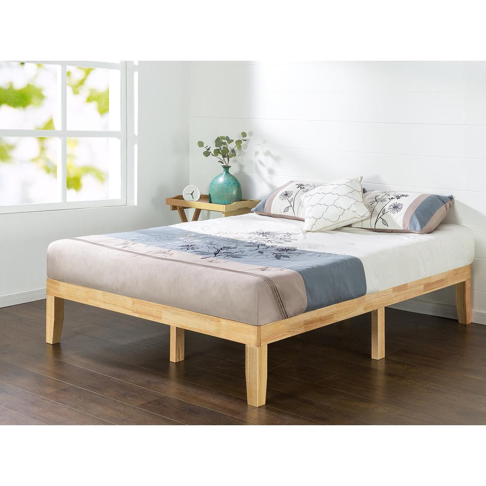 natural queen solid wood platform bed frame natural - Queen Bedroom Frames