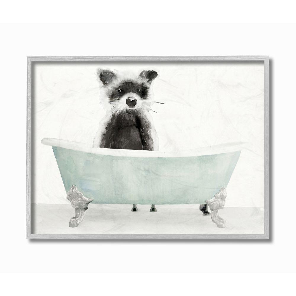 Stupell Industries Raccoon In A Tub Funny Animal Bathroom Drawing By Stellar Design Studio Framed Wall Art 16 In X 20 In Aa 193 Gff 16x20 The Home Depot