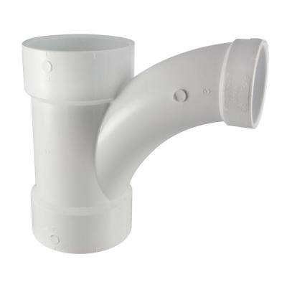 4 in. x 4 in. x 3 in. PVC DWV All-Hub Long-Radius Sanitary Tee