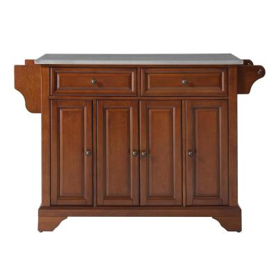 Lafayette Cherry Kitchen Island with Stainless Steel Top