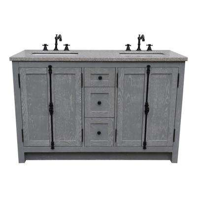 Plantation 55 in. W x 22 in. D Double Bath Vanity in Gray with Granite Vanity Top in Gray with White Rectangle Basins