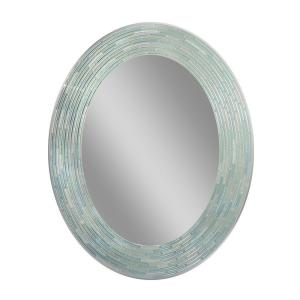 Deco Mirror 29 inch L x 23 inch W Reeded Sea Glass Oval Wall Mirror by Deco Mirror