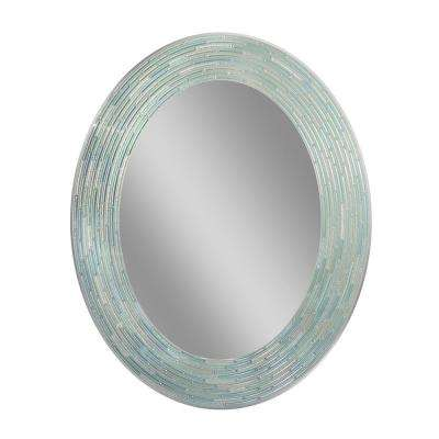 29 in. L x 23 in. W Reeded Sea Glass Oval Wall Mirror