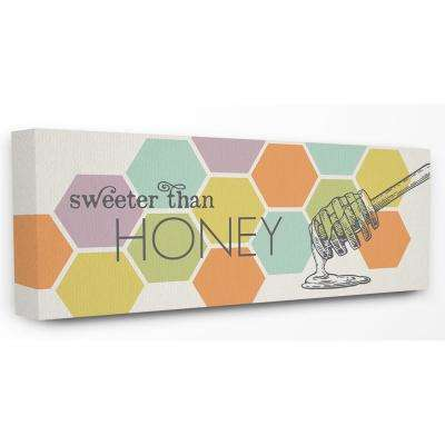 """10 in. x 24 in. """"Sweeter Than Honey Typography with Geo Honeycomb Pattern"""" by Tammy Apple Canvas Wall Art"""