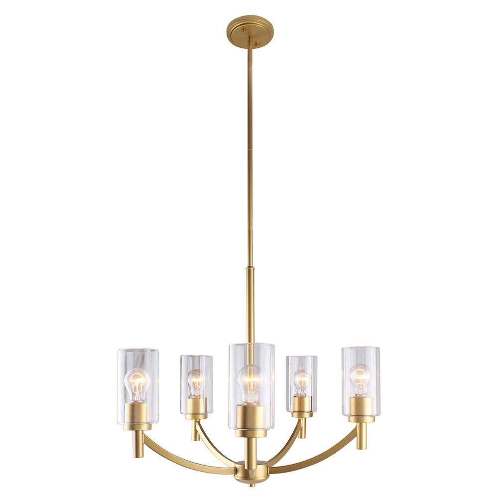Eglo Devora 5-Ligth Antique Gold and Clear Glass Chandelier
