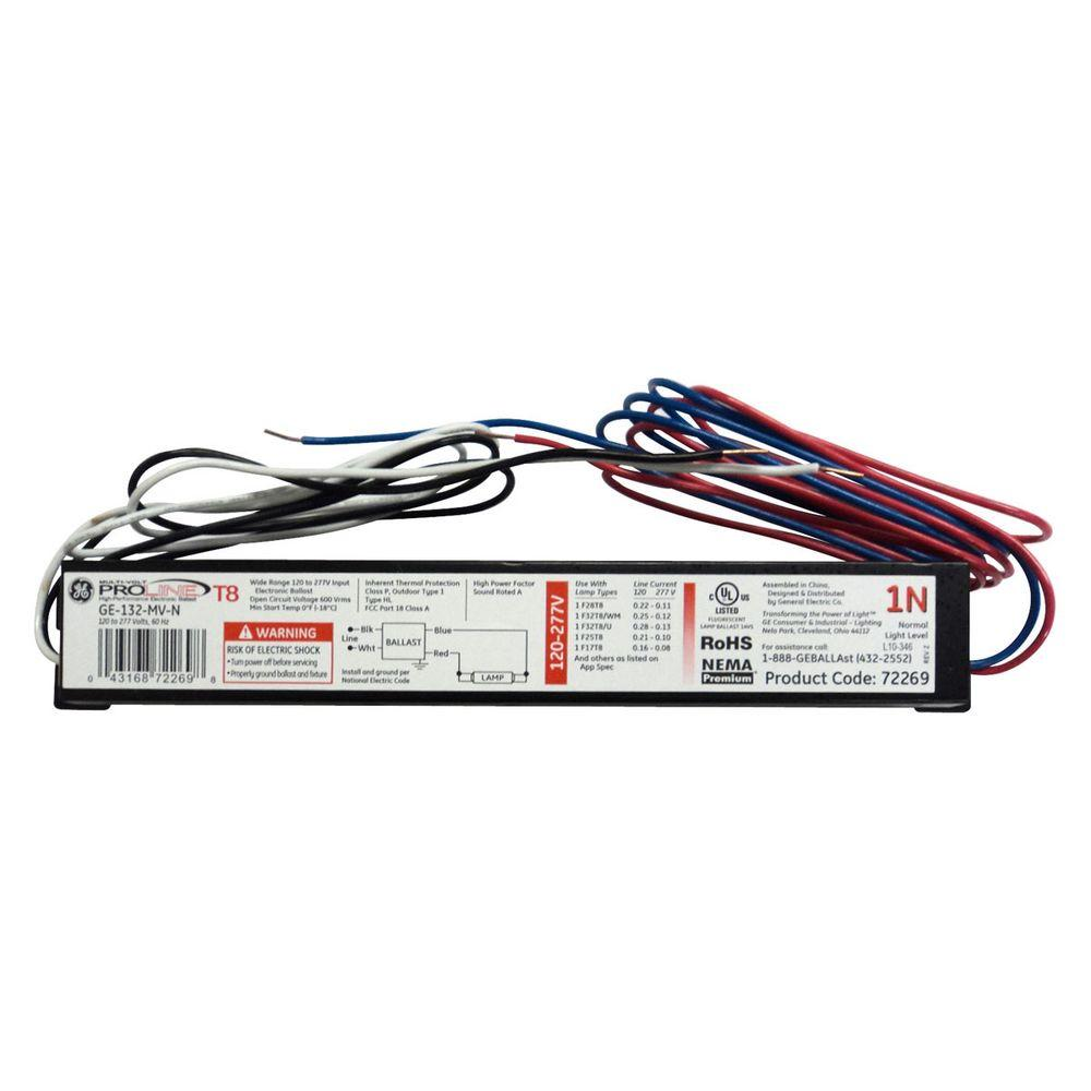 Ge 120 To 277 Volt Electronic Ballast For 4 Ft 1 Lamp T8 Fixture 3 Bulb Wiring Diagram