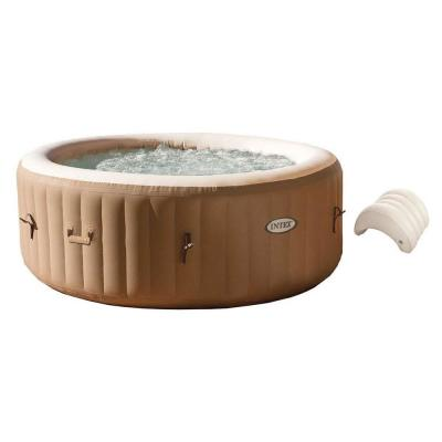 PureSpa 4-Person Inflatable Jet Spa Hot Tub with Inflatable Headrest Pillow