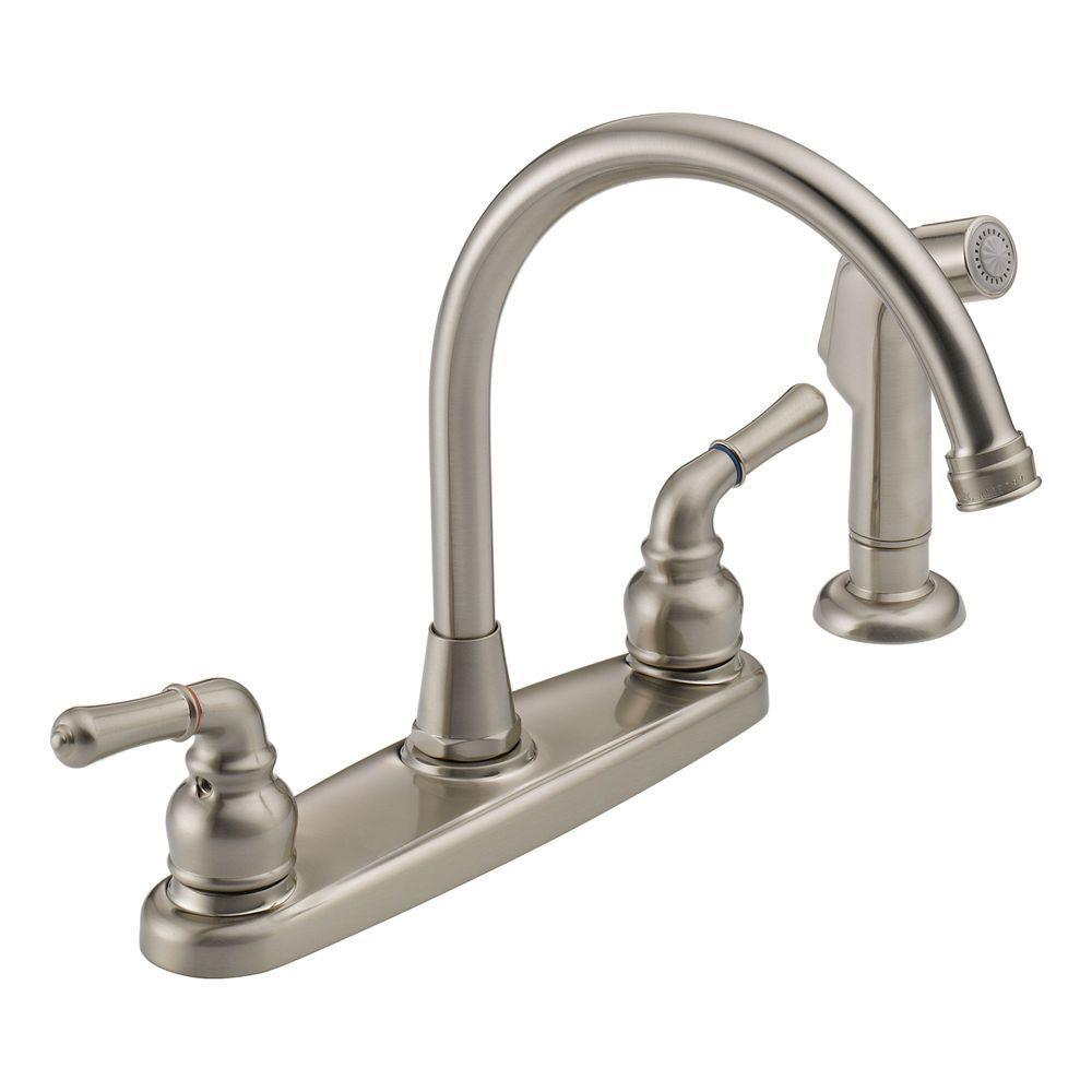 Peerless 2-Handle Side Sprayer Kitchen Faucet in Satin Nickel