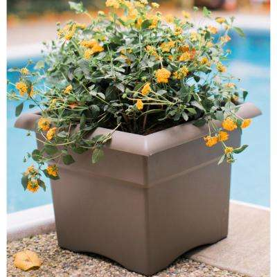 18 x 14.25 Terra Cotta Veranda Plastic Square Deck Box Planter