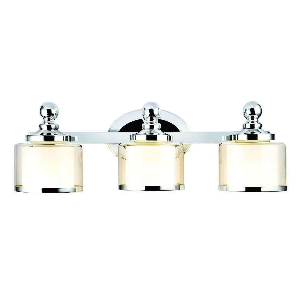 Hampton Bay Levan 3 Light Chrome Vanity Sconce With Outer Clear Glass Shades And Inner Frosted