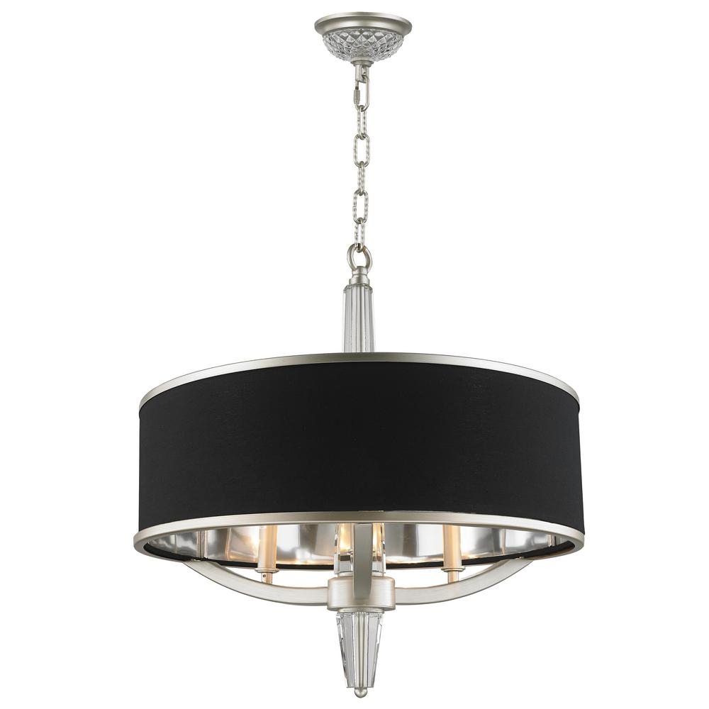 Worldwide Lighting Gatsby 3 Light Matte Nickel Chandelier With Black Drum Shade
