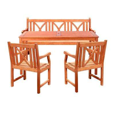Balthazar Eucalyptus 4-Piece Wood Patio Dining Set with Cross-Back Armchairs