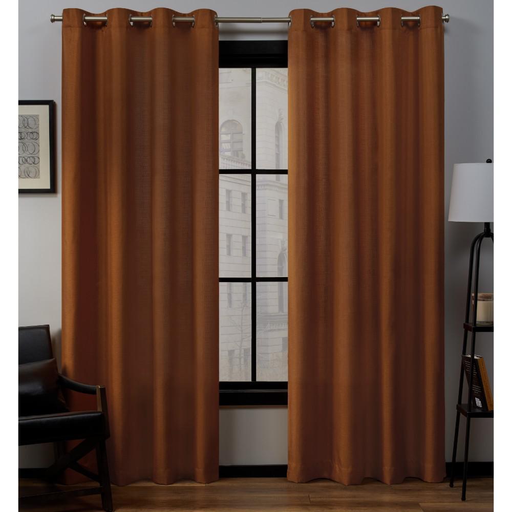 Loha 54 in. W x 84 in. L Linen Blend Grommet Top Curtain Panel in Terracotta (2 Panels)