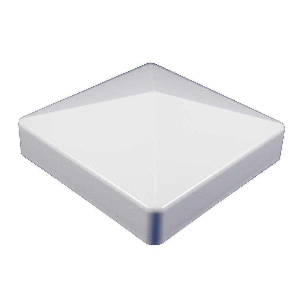 4 in. x 4 in. White Vinyl External Pyramid Post Cap