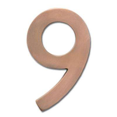 5 in. Antique Copper Floating House Number 9