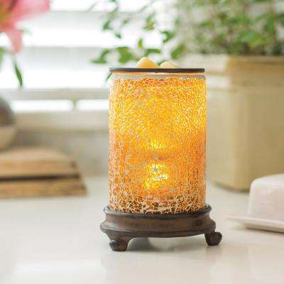 8.8 in. Crackled Amber Glass Illumination Fragrance Warmer