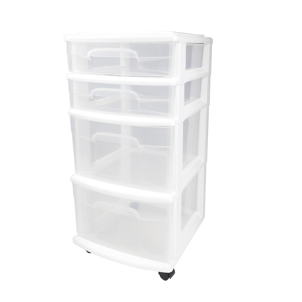 4-Drawer Medium Plastic Wheeled Cart in White