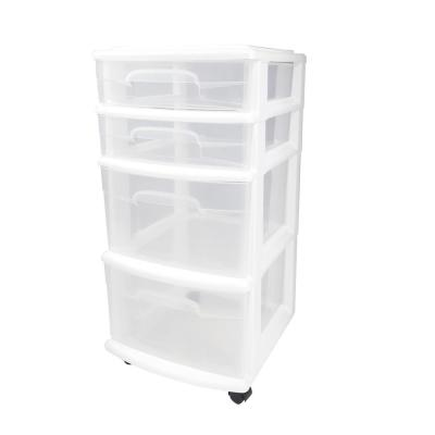 4 Drawer Medium Plastic Wheeled Cart In White