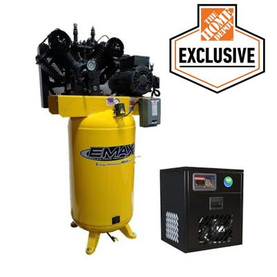 Industrial 80 Gal. 7.5 HP 1-Phase Electric Air Compressor with Pressure-lubricated Pump and 30 CFM Air Dryer