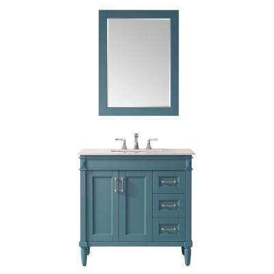 """Catania 36"""" Vanity in RoyalGreen with Carrara White Marble Countertop With Mirror"""