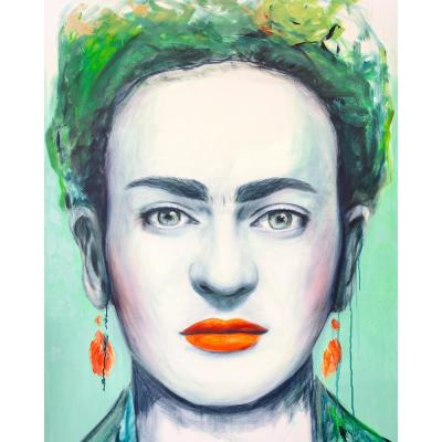 """40 in. x 50 in. """"Frida"""" by Mat Printed and Painted Canvas Wall Art"""