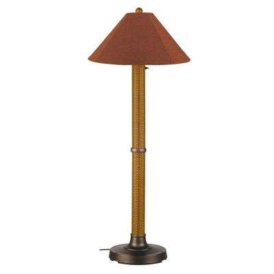 Bahama Weave 60 in. Mocha Cream Floor Lamp with Chile Linen Shade