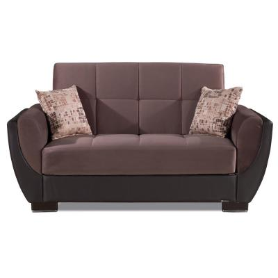 Armada Air 70 in. Chocolate Brown Microfiber 2-Seater Convertible Loveseat with Storage