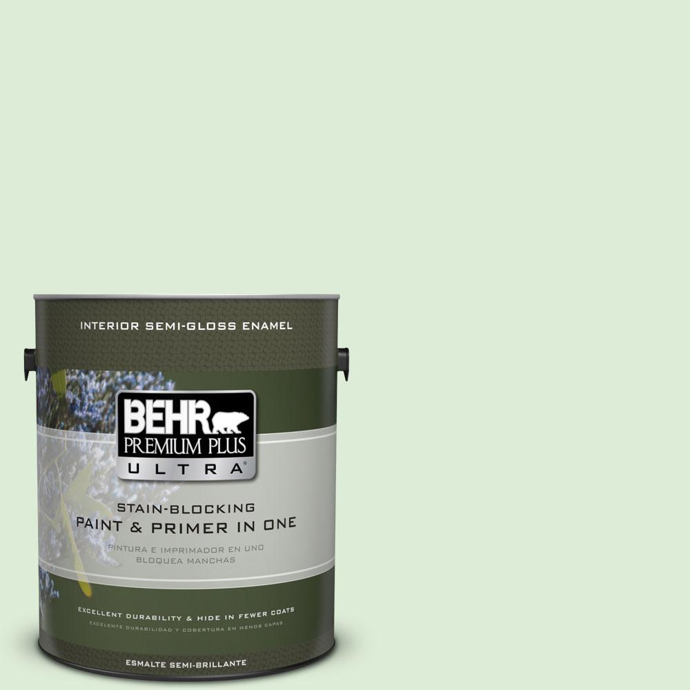 BEHR Premium Plus Ultra 1-gal. #M390-2 Misty Meadow Semi-Gloss Enamel Interior Paint