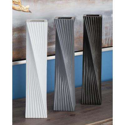 16 in. Twisted Rectangular Ceramic Decorative Vases in Black, White and Gray (Set of 3)