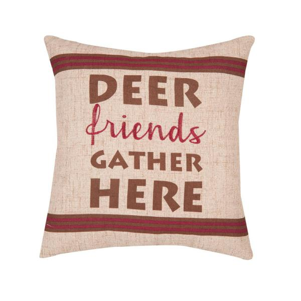 Tan Gather Here Printed / Embroidered 16 in. x 16 in. Standard Throw Pillow