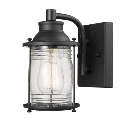 Bayfield 1-Light Dark Bronze Outdoor Wall Sconce with Seeded Glass Shade