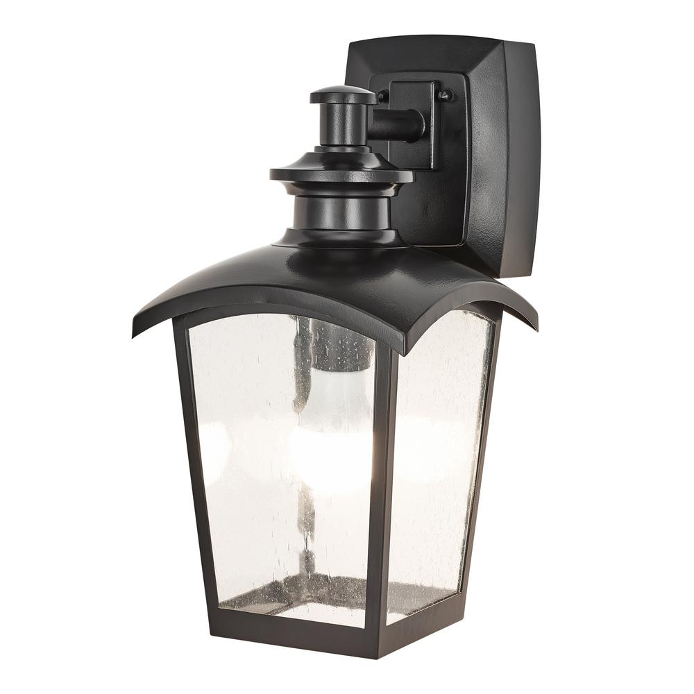 Home Luminaire 1-Light Black Outdoor Wall Coach Light Sconce with Seeded Glass and Built-In GFCI Outlets