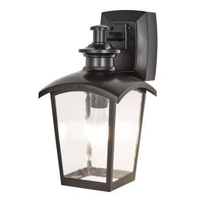 1 Light Black Outdoor Wall Coach Sconce With Seeded Gl And Built In Gfci Outlets