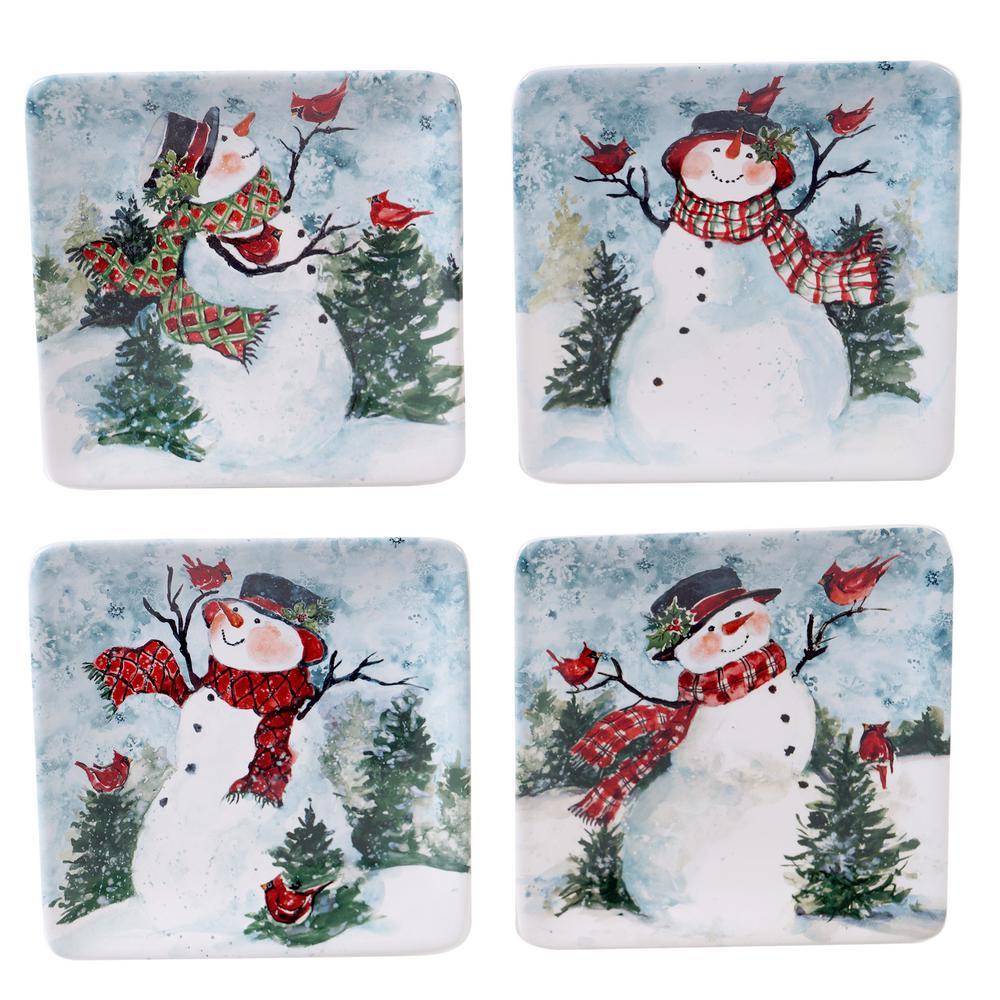 Watercolor Snowman 4-pc Multi-Colored 6 in. Square Canape Plate Set