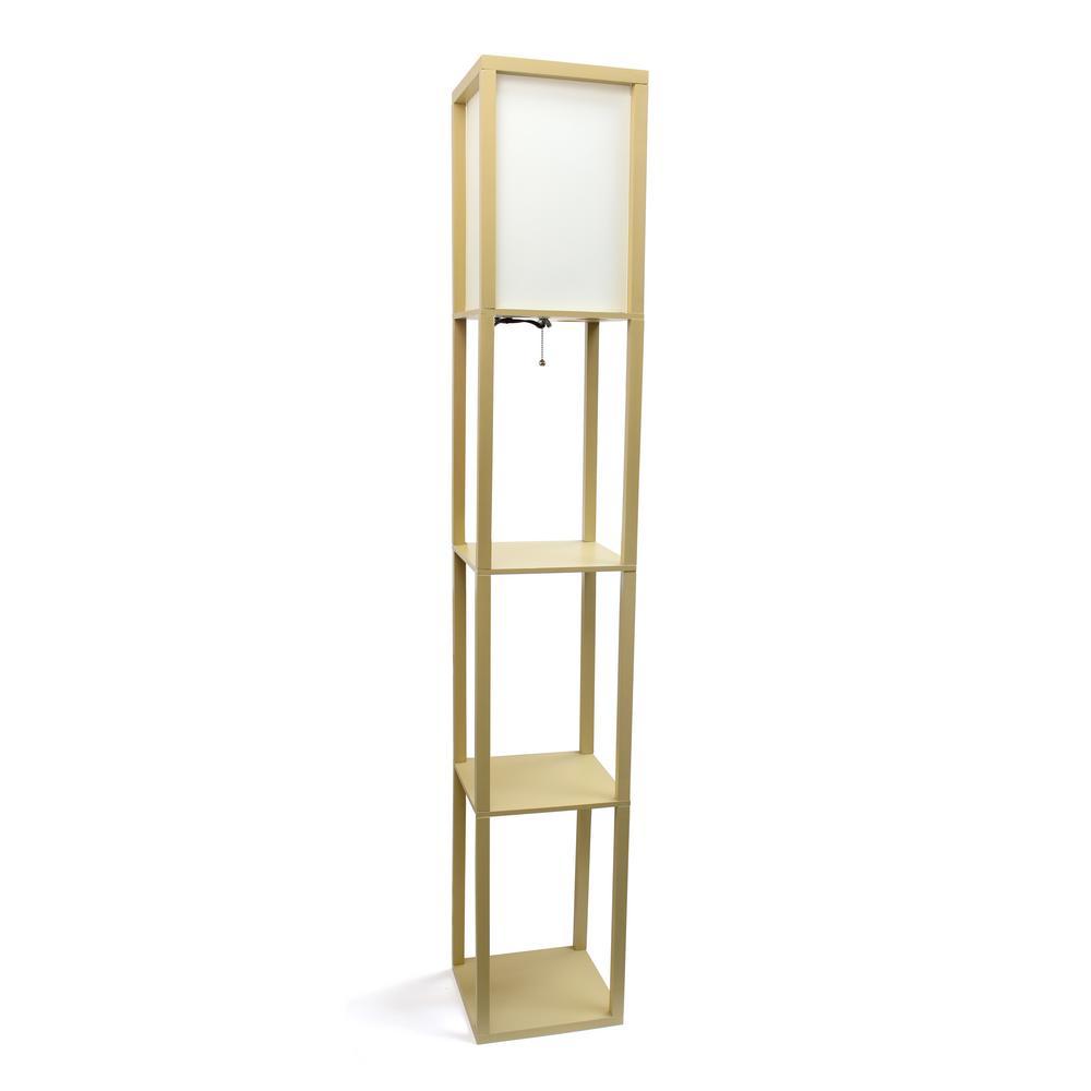 Simple Designs 6275 In Tan Floor Lamp Etagere Organizer Storage