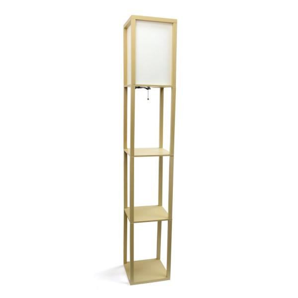 62.75 in. Tan Floor Lamp Etagere Organizer Storage Shelf with Linen Shade