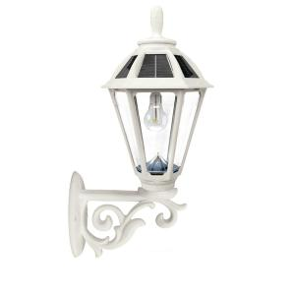 Polaris Solar Medium 1-Light White Resin Integrated LED Outdoor Solar Post/Wall Light with Warm-White LED's