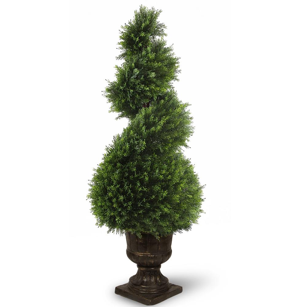 National Tree Company 48 in. Juniper Spiral Tree with Decorative Urn ...