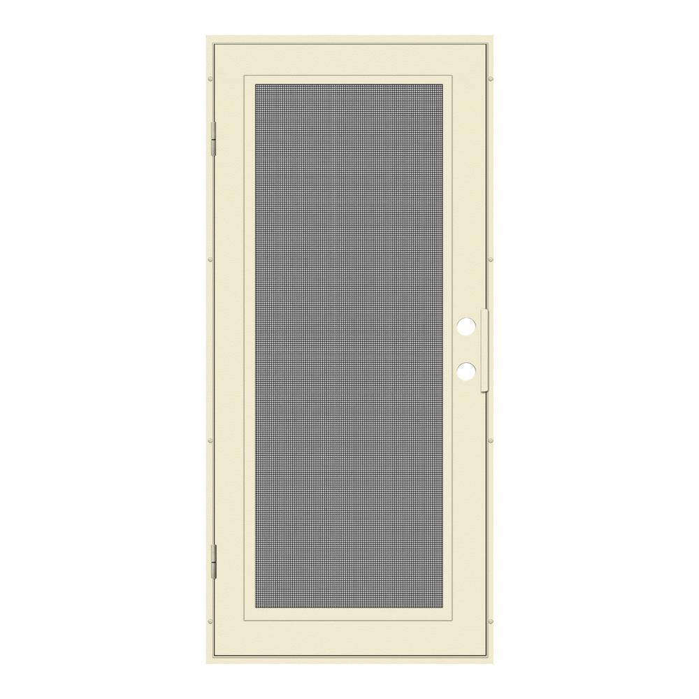 32 in. x 80 in. Full View Beige Hammer Left-Hand Surface Mount Security Door with Meshtec Screen
