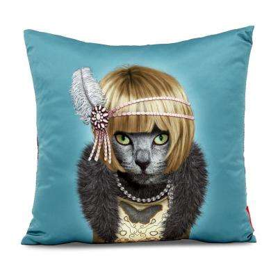 """18 in. x 18 in. Turquiose  Pets Rock """"Daisy"""" Throw Pillow"""