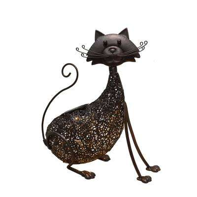 15.4 in. Steel Indoor/Outdoor Animal Garden Cat Metal Feline Sculpture Statue with Solar Light