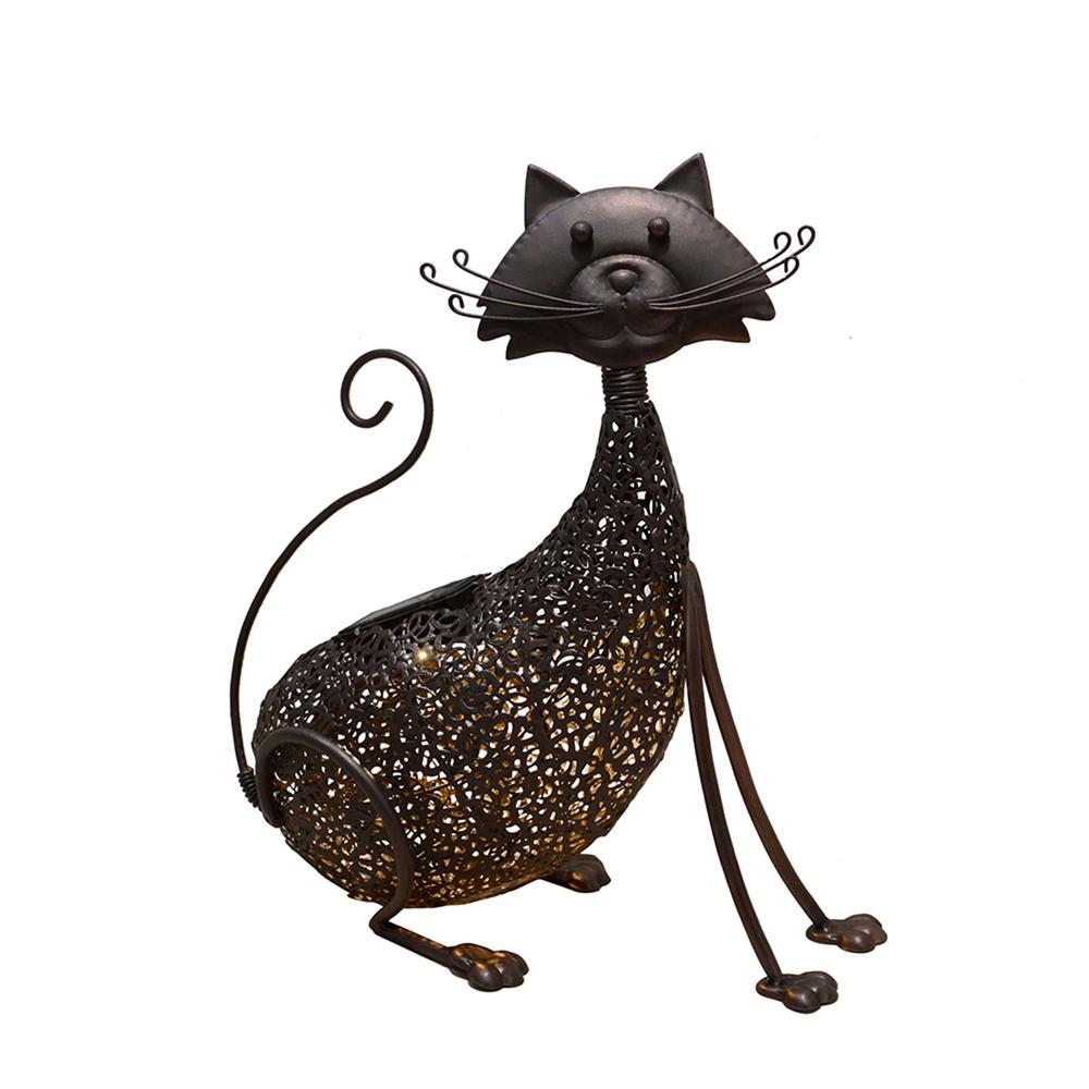 15.4 in. Steel Indoor/Outdoor Animal Garden Cat Metal Feline Sculpture Statue with Solar Light
