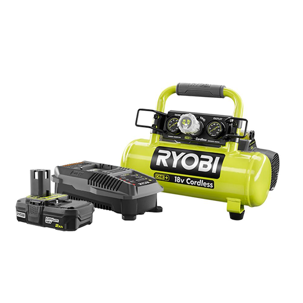 RYOBI 18-Volt ONE+ Lithium-Ion Cordless 1 Gal. Air Compressor Kit with 2.0 Ah Battery and 18-Volt Dual Chemistry Charger