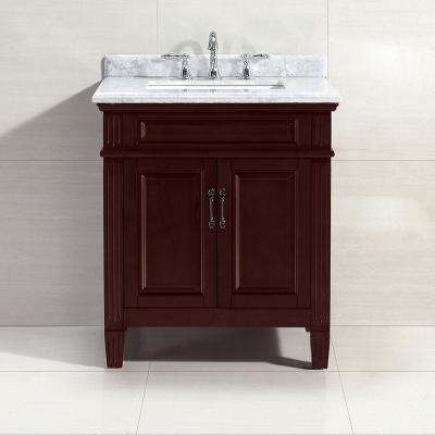 Blaine 30 in. W x 22 in.D Bath Vanity in Chocolate with Carrara Marble Vanity Top in White with White Basin