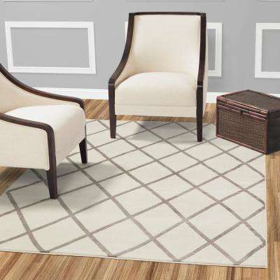 Jasmin Collection Ivory and Gray 3 ft. x 10 ft. Moroccan Trellis Runner Rug