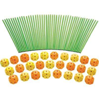 Orange and Yellow Balls Funphix Fort Building Kit Glow in the Dark Sticks Fun Construction Toy for Age 5 Plus (77-Piece)